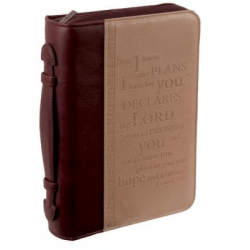 POCHETTE BIBLE, L, FOR I KNOW THE PLANS […] JER 29.11, BRUN - SIMILICUIR